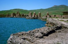 The ruins and crater at Takht-e-Soleyman Throne of Soloman, Iran. 2006.