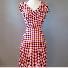 """NWT Leota faux-wrap dress - size x-small Charming faux wrap dress by retro Hollywood glam inspired brand, Leota. - pink & orange checkered print, """"Birds and the Bees"""" - size XS - handmade in NY - 95% polyester, 5% spandex Leota Dresses"""