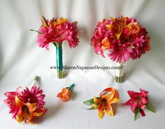 Papaya-Orange, Hot Pink-Fuchsia  Gerber Daisies, Roses, and Lilies Collection (Artificial Flowers)