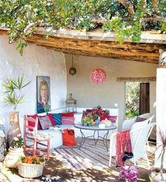 featured posts image for Beautiful country-chic home in the South of Spain Outdoor Rooms, Outdoor Gardens, Outdoor Living, Outdoor Decor, Outdoor Seating, Porch And Terrace, Patio Roof, Terrace Garden, Pergola Patio