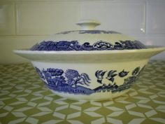 Vintage blue and white tureen Barretts of Staffordshire large table ware dining