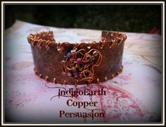 IndigoEarth~ Copper Persuasion~ Mixed Media Cuff   IndigoEarth - Jewelry on ArtFire