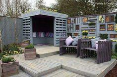 Backyard seating, entertainment area, planters