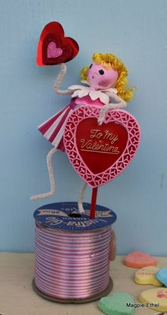 Vintage Style Valentine Girl  Spun Cotton with by MagpieEthel, $21.00