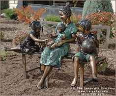Mother and Children Statue | Bronze Children Statues & Children Sculptures | Garden Statues | Garden Sculptures | Unique Gifts for Him or He...