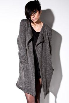 Womens asymmetric knit boyfriend cardigan, grey or black - - love my cardigans