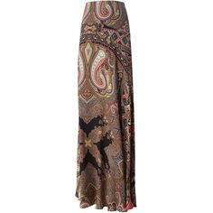 Etro Paisley Print Maxi Skirt ($1,859) ❤ liked on Polyvore featuring skirts, multicolour, multi color skirt, multi colored maxi skirt, ankle length skirts, brown maxi skirt and silk maxi skirt