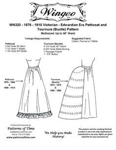 Nicole: WN320 - Victorian Era Petticoat & Tournure (Bustle) Pattern .  Petticoat suitable for 1876-1910