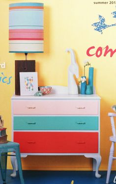 Painted chest of drawers from Resene Habitat magazine All Resene paints. Top to bottom: Sentimental, Renew and Rapture