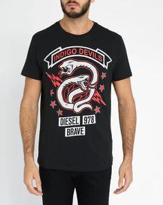 Black T-Newyn Round-Neck Printed T-Shirt DIESEL