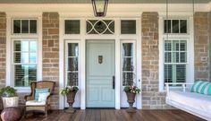 """Front door paint color is """"Sherwin Williams Sea Salt SW6204""""."""