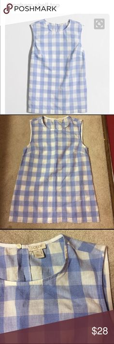 J Crew gingham shell tank I have been coveting this blue and white top for almost a year, and finally found it, but alas, it's too big :(. Size 00, but fits more like a J Crew 0, which is like a 2 or a 4 elsewhere. In like new condition, no flaws. Soft, comfortable, adorable! J. Crew Factory Tops