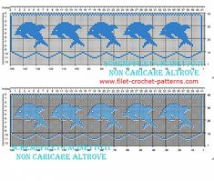 Filet crochet border pattern with small blue dolphins width 35 squares - free filet crochet patterns download