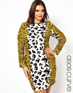 Bold print, but to break it up, throw on a solid jacket/blazer...make sure the jacket has structure!! ASOS CURVE Bodycon Dress In Baroque Animal Print
