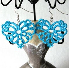 Torquoise Heart tatted earrings