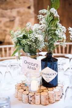 Anna Campbell for a fun wedding at Park House Barn. Rustic and Gin in … – Hochzeit – Deko - Wedding Table Bottle Centerpieces, Wedding Table Centerpieces, Centrepiece Ideas, Flower Centrepieces, Gypsophila Flower, Church Wedding Decorations, Ceremony Decorations, Wedding Marquee Decoration, Rustic Wedding Table Decorations