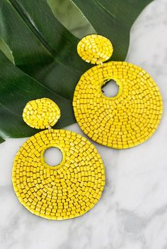 The Serendipity Earrings in Yellow Ear Jewelry, Cute Jewelry, Jewelery, Jewelry Accessories, Jewelry Making, Moon Earrings, Bead Earrings, Bead Embroidery Jewelry, Beaded Embroidery
