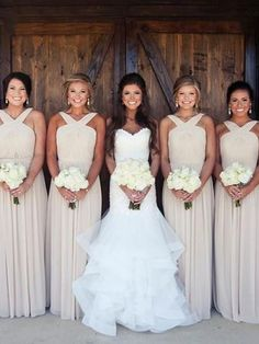 Simple Halter Mismatched Long Bridesmaid Dresses, BW0252 #bridesmaiddress #bridesmaiddresses