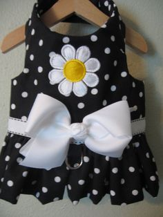 Harness vest in black with white polka dots by MissMuffinsCloset, $22.99