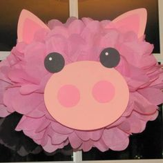 Pig tissue paper pompom kit Old MacDonald farm party. $9.99, via Etsy.
