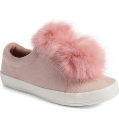 cbfd57d50ce5c Main Image - Sam Edelman Cynthia Leya Faux Fur Pompom Slip-On Sneaker  (Toddler