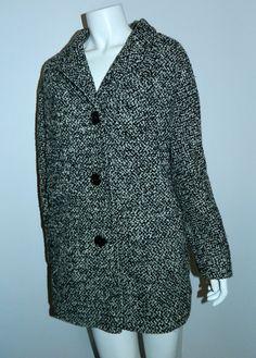 vintage tweed cocoon coat 1950s / 1960s Best & Co. black white boucle – Retro Trend Vintage