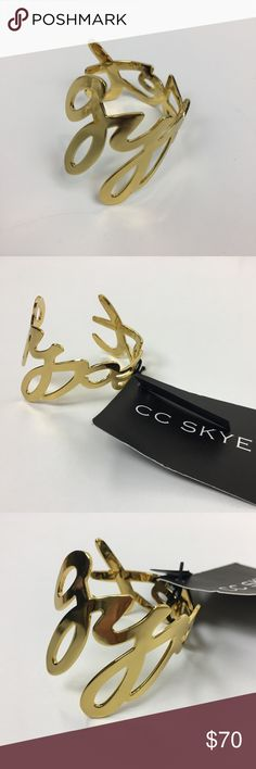 """CC Skye Gypset Cuff CC Skye is adored by Hollywood Celebrities. This Gypset Cuff is 18K gold plated. A True Gypset Girl fuses the free-spirited and carefree lifestyle of a Gypsy with the sophistication and indulgence of the Jet Set. Bracelet fits a 6"""" wrist. Great for those with small wrists who find it hard to wear regular sized bangles. CC Skye Jewelry Bracelets"""