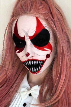 Horribly Exciting Scary Halloween Makeup Ideas ★ Crazy Halloween Makeup, Creepy Clown Makeup, Beautiful Halloween Makeup, Witch Makeup, Halloween Face Paint Scary, Zombie Makeup, Horror Makeup, Fantasias Halloween, Makeup Ideas