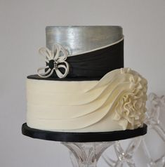 Couture-inspired cake for a small, intimate wedding..