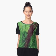 "Greenery, floral art, wild flowers, summer  Women's Chiffon Top Front ""Greenery"" Hand drawn design, summer plants (burdock, sorrel and goldenrod) in green colors.    © Clipso-Callipso / Julia Khoroshikh  #green #greenery #wildflowers #floraldesign #floral #floralprint #fashion #wearableart #print #top"