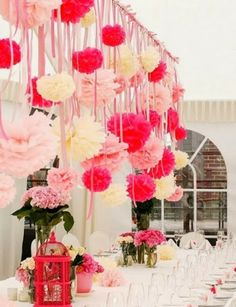 Pompones de papel , decora tu propia boda