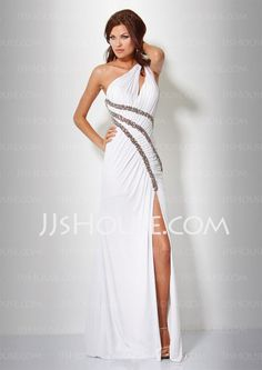 Prom Dresses - $150.49 - Sheath One-Shoulder Sweep Train Chiffon  Charmeuse Prom Dresses with Ruffle  Beading (018005081) http://jjshouse.com/Sheath-One-shoulder-Sweep-Train-Chiffon--Charmeuse-Prom-Dresses-With-Ruffle--Beading-018005081-g5081