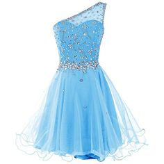 Dresstells Women's One Shoulder Prom Dresses Homecoming Dress with... ($50) ❤ liked on Polyvore featuring dresses, beaded dress, one sleeve cocktail dress, blue dress, prom dresses and beaded cocktail dress