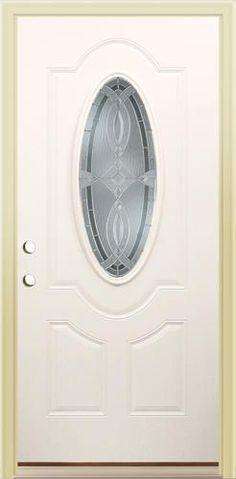 Mastercraft Primed Steel Oval Lite Prehung Exterior Door At Menards Mastercraft Aurora 36 W X 80 H Pr Prehung Exterior Door Wooden Doors Wood Doors Interior