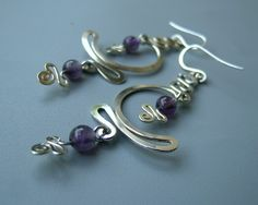 Sterling silver and Amethyst MOON WAVE dangly long by Almendro, $36.00