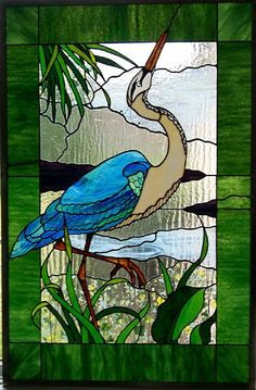 Stained Glass Blue heron: