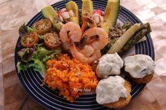 Assiette-Repas : Crevettes-Asperges-Avocat-Etc. - Mamy Nadine cuisine...