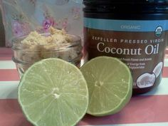 My favorite new foot and body scrub: brown sugar, coconut oil, and fresh lime. Feels like vacation in a mason jar!