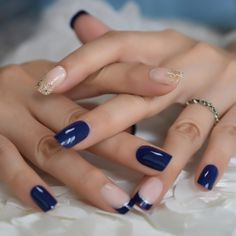 1) Shape - Squoval  2)Amount - Set comes with 24 nails  3)Color - Blue and Blue French  4) Kit comes with a cuticle pusher, 24 Nail Adhesive tabs, and a miniature buffer Frensh Nails, Glue On Nails, Nail Manicure, Hair And Nails, Navy Blue Nails, Navy Blue Nail Designs, Blue Gel Nails, Navy Acrylic Nails, Nail Length