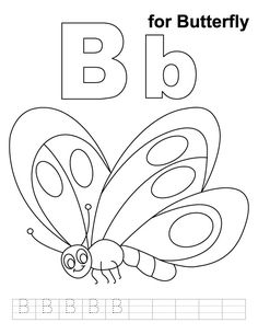 B for butterfly coloring page with handwriting practice