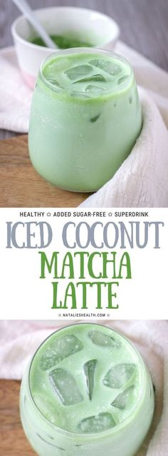Iced Coconut Matcha Latte is the perfect antioxidant-rich drink that will make y. - Iced Coconut Matcha Latte is the perfect antioxidant-rich drink that will make your mornings so muc - Smoothie Drinks, Healthy Smoothies, Smoothie Recipes, Healthy Drinks For Energy, Green Smoothies, Macha Smoothie, Healthy Coffee Drinks, Healthy Cafe, Coconut Smoothie