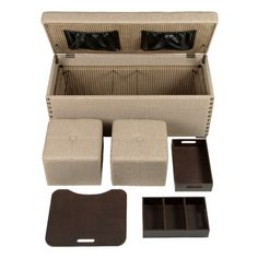 Nailhead Trimmed Storage Ottoman With A Wood Frame Includes One Lap Desk Two Trays And Foot Rests Product