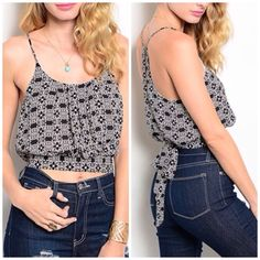 Summer Clearance 💋 This cute crop top features a trendy tribal print. Wide banded hem and spaghetti straps. 100% Polyester  A15. NWOT open to offers Tops Tank Tops