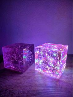 Purple Led String light Multicolour Resin Cube