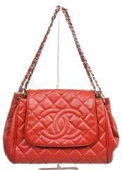 Chanel Red Caviar Timeless Accordion Flap Shoulder Handbag