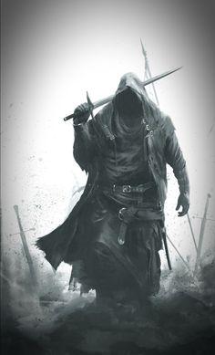Gothic Fantasy Art, Medieval Fantasy, Guerrero Tattoo, Grim Reaper Art, Knight Tattoo, Ninja Art, Warrior Tattoos, Knight Art, Scary Art
