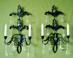 Hollywood Regency Jet Black Crystal Candle Wall Sconces MADE TO ORDER. $110.00, via Etsy.