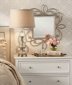 Elegant Home Decor, Elegant Homes, Glam Bedroom, Bedroom Decor, Master Bedroom, Bedroom Ideas, Girls Bedroom, Antique Gold Mirror, Venetian Mirrors