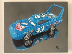 Painting of the diecast model scale 1:55, The King, Cars movie, shows all the details, decals and shapes of the original model. It is showcased in a photorealistic painting with acrylics on canvas, measures 50x40cm. Car Painting, Diecast Models, Acrylics, Automobile, Decals, Paintings, King, Movie, Shapes