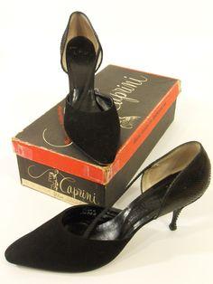 50s Black Snakeskin Shoes by Caprini - 9.5AA